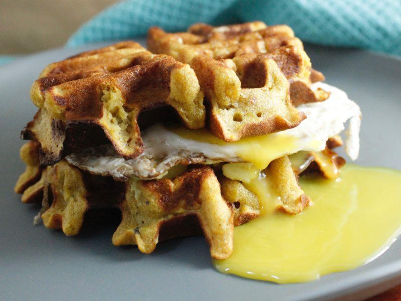 Waffle Sandwich de Plátano Verde